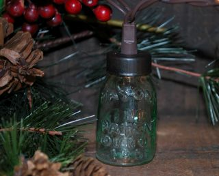 Mini Mason Jar Twinkle Light Holder - - Primitive Christmas Tree Ornament photo