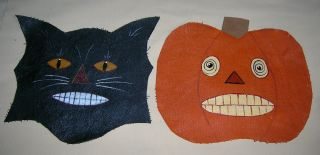 Primitive Handpainted Halloween Candle Table Mats Jol Black Cat Spooky Decor photo