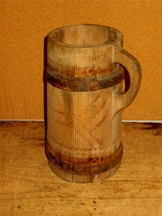 Rare 18th C American Rev War Period Decorated Wood Staved Tavern Or Inn Tankard photo