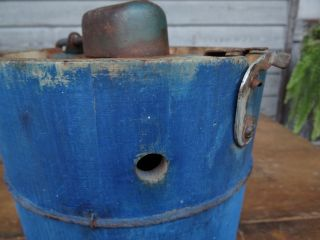 Rare Primitive Small Wooden Ice Cream Freezer 2 Qt Bucket Staved Blue Paint Nr photo