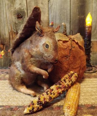 Primitive Folk Art Fall Pumpkin And Squirrel Doll~ Tdipt photo