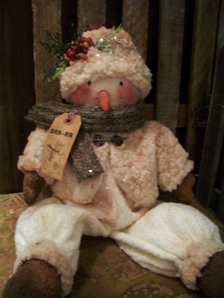 Primitive Furry Fleece Dressed Snowman ==weighted Bottom Doll == 20 In == photo