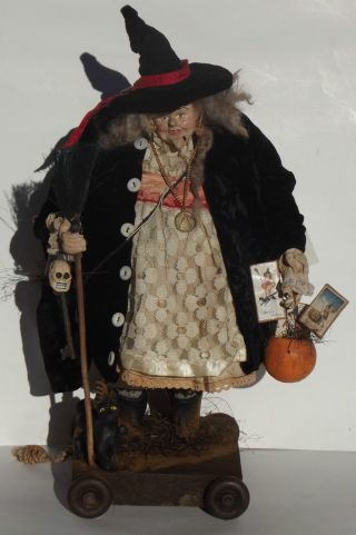 Kim ' S Klaus~ooak Handmade Witch Folk Art Doll~vintage Antique Halloween~cat photo