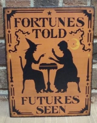 Primitive Style Halloween Witch Sign Fortunes Told Futures Seen Hp Wiccan,  Moon photo