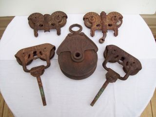 Industrail 5 Pc Lot Antiq Myers Barn Track /rollers 6 Inch Wood Metal Pulleys photo