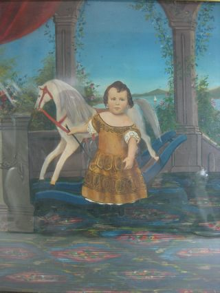 Exceptional Mid 19th C.  O/b Folk Art Painting Of Boy W/ Rocking Horse & Whip Nr photo