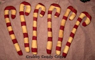 6 Primitive Folk Art Candy Cane Ornies / Bowl Fillers Christmas Handmade photo