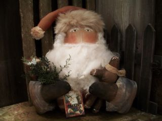 Primitive Santa With Holding Arms == Doll And Cane == Annie ==14 X 13 In.  == photo