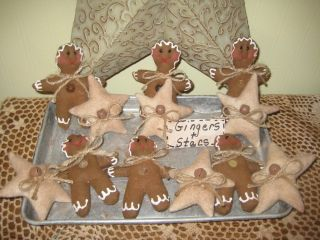 Primitive Christmas Handmade Gingerbread Star Ornies Bowl Fillers Gathering photo