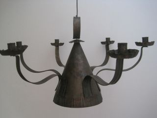 Antique 1700s American Tin Lighting 6 Wide Arm Candle Chandelier Candle Holder photo