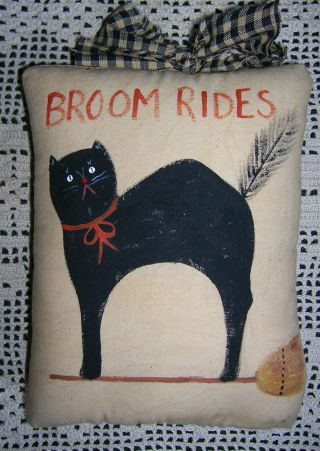 Primitive Halloween Broom Rides Ornie Black Cat Broom Wallhanging Pillow Tuck photo