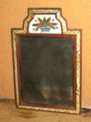 A Great 18th C Courting Mirror Reverse Painted Glass Decoration Mint photo