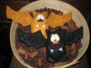Primitive Hc Halloween Set 2 Bat Bats Doll Ornies Tuck Shelf Sitter photo