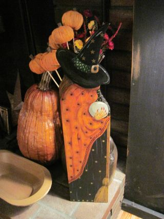 , Ooak,  New England Primitive Folk Art Wooden Garden Witch photo