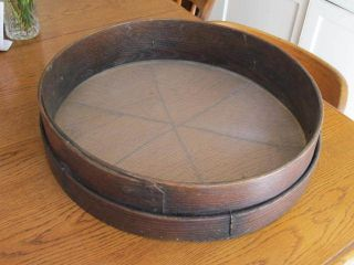 Antique Primitive Oak Bentwood Grain Sifter Sieve Country Farm Collectible photo