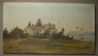 1878 Painting Governor Wentworth Mansion Portsmouth Nh By Lathrop Sailboat - Nr photo