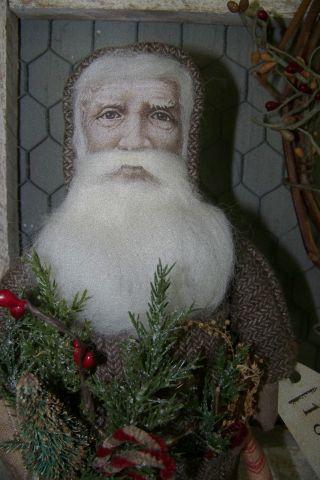 Olde Primitive Santa Doll Olde St Nick Vint~quilt~ Bobbin Vintage Photo Ooak photo