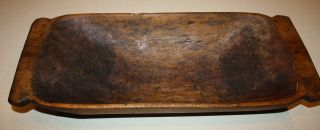 Antique Primitive Carved Wooden Dough Bowl; Old Hand - Hewn Country Trencher 1800s photo