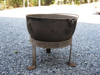 Large,  Antique,  Cauldron,  Kettle,  Crock,  Pot,  30 Gal.  With Handle And Stand photo