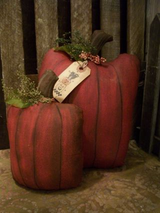 Primitive Fall Pumpkins Set Of 2 == Harvest Doll == photo