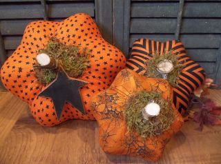 Gathering Of Three Prim Handmade Pumpkins - Fall/harvest/halloween Decoration photo