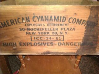 Antique Dovetail Dynamite Box Wooden American Cynamite Co New York Ny 1930~40s photo