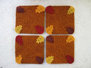 Primitive Wool Felt Penny Rug Coasters,  Fall Leaves,  Hand Sewn - Set Of 4 photo