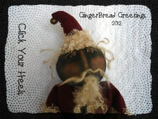 Primitive Black Santa Doll Gingerbread Greetings (click Your Heels) photo