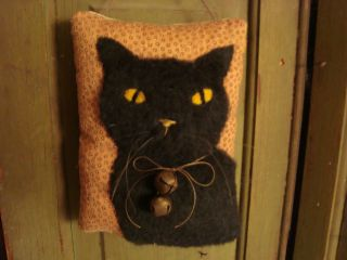 Primitive Halloween Black Cat Quilt Door Pillow ~ Folk Art photo