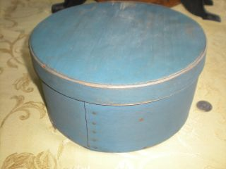 Primitive Shaker Round Pantry Box Blue Paint photo
