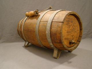 Antique Primitive Nautical Life Boat Banded Oak Barrel Old Water Cask Dispenser photo