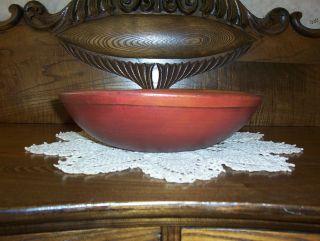 Primitive Red Wood Dough Bowl photo