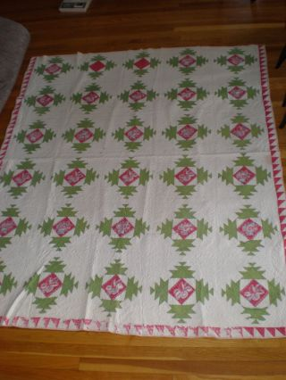 Antique 19th Century Red And Green Country Quilt With Goosewing Borders photo