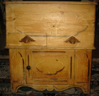 Dry Sink Or Blanket Chest Folk Art Potter Place Nh Large Pine Black Americana photo