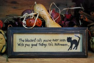 The Blackest Cats You ' Ve Ever Seen. . . . .  Stitchery Primitive Halloween Picture photo