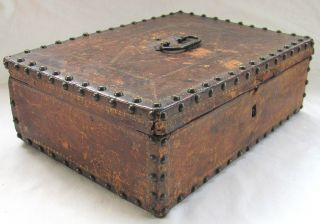 18th C Document Box - Gilt Tooled Leather & Brass Studs - Nr photo