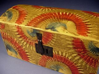 Paint Decorated Miniature Dome Top Document Box Grain Painted photo