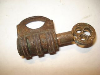 17th Century Iron Pocket Size Working Iron Padlock 1 Inches With Key Must See photo