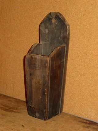 Rare 19th C Maple Hanging Candle Box Or Spill Box In Grungy Old Surface Patina photo