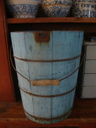 Great Robins Egg Blue Painted Wooden Bucket photo