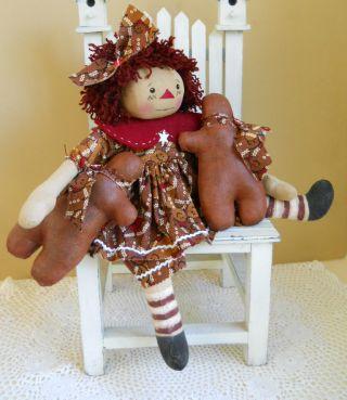 Primitive Folk Art Sweet Holiday Raggedy Ann & Her Ginger Breadmen photo