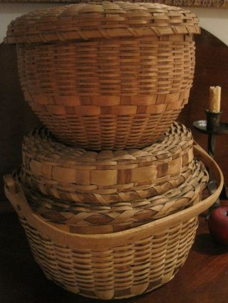 Antique 1800s Two Lrg Woodlands Native American Indian Covered Storage Baskets photo