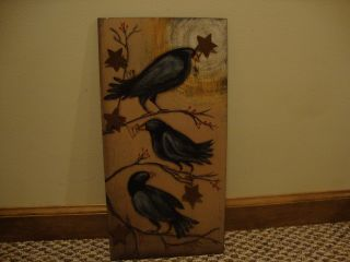 Sale /primitive Painted Wood Crow Wall Painting W/tin Stars /nice photo