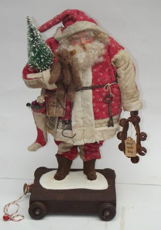 Kim ' S Klaus~ooak Handmade Santa ~teddy~antique Red White Quilt~vintage Christmas photo