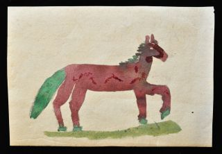Rare 19th Century Amish Child ' S Horse Painting On Antique Ledger Paper photo