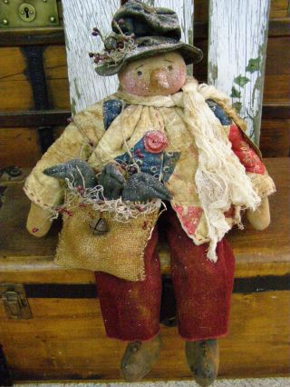 Primitive Fall Snowman Doll 3 Crows Folk Art Snowman Harvest Crows Old Quilt photo