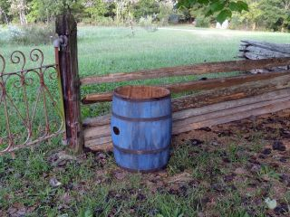 1800s Primitive Wooden Barrel Staved Old Style Blue Paint Metal Bands photo