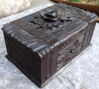 Antique Carved Wood Box - Trinket - Jewel Box photo