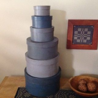 Set Of 6 Primitive Stacking Boxes In Shades Of Early Blue photo