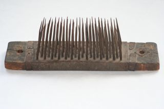Antique Wooden Flax Comb Hetchel Carding Tool Early American Colonial Dated 1767 photo